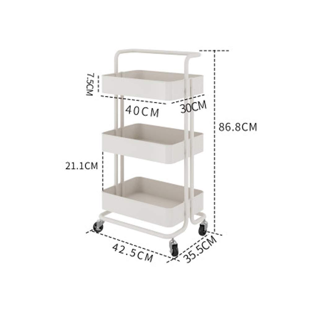 WWWT Kitchen Racks, Storage Racks, Floor-Standing trolleys, Multi-Layer Vegetable Racks, Baskets, Living Room Removable, Wheeled Baskets-White