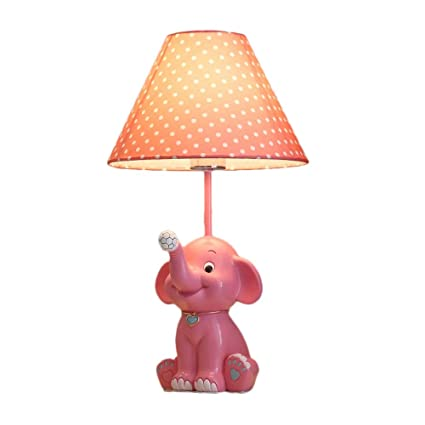 Amazon Com Child Lamp Bedroom Bedside Lamp With Pink Spotted Fabric
