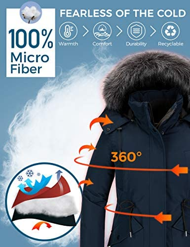 CHIN·MOON WOMEN'S WINTER WARM COAT WINDPROOF PUFFER JACKET LONG QUILTED THICK JACKET WITH FAUX FUR HOOD