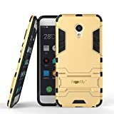 Heartly Meizu M3s Back Cover Graphic Kickstand Hard Dual Rugged Armor Hybrid Bumper Case - Mobile Gold