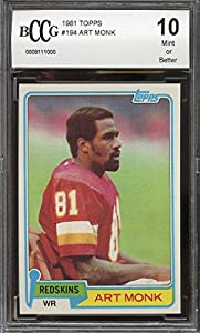 1981 topps #194 ART MONK washington redskins rookie card BGS BCCG 10 Graded Card