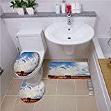 Bath mat Set Round-Shaped Toilet Mat Area Rug Toilet Lid Covers 3PCS,Western Decor,Horse in Monument Valley Open Sky with Clouds in Arizona America Landscape,Cream Blue,3D Digital,Printing