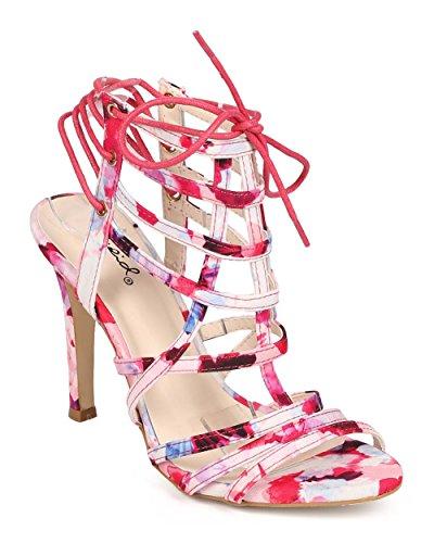 Qupid EE24 Women Floral Peep Toe Caged Lace Up Slingback Heel Sandal - Pink