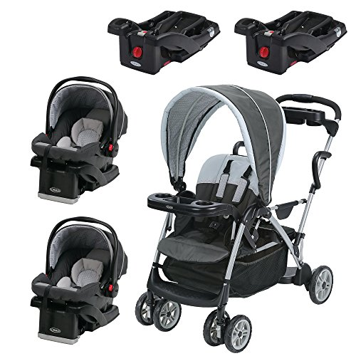 Graco RoomFor2 Dual Stand & Ride Stroller, 2 Seats, and 2 Bases Travel System