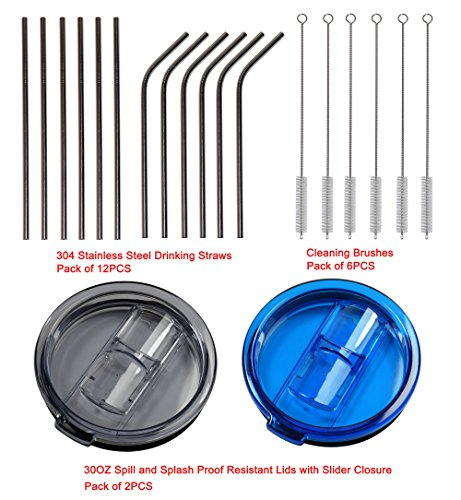 Cofufu 12 Pcs 304 Stainless Steel Drinking Straws + 6 Pcs Cleaning Brushes + 2 Pcs Spill and Splash Proof Resistant Lids with Slider Closure