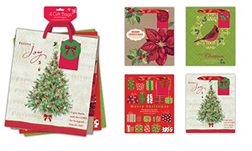 4 Pack of Large Religious Christmas Gift Bags Xmas Giftbags - Religious Scriptures on Each Bag w/ Foil & Glitter Finishes