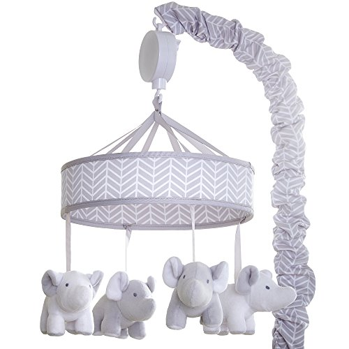 Wendy Bellissimo Baby Mobile Crib Mobile Musical Mobile - Elephant Mobile from The Hudson Collection in Grey and White (Nursery Mobile Neutral)