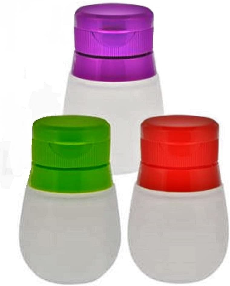 Small Travel Food Dressing Storage Silicone Bottle Containers, 3-ct Set