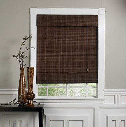 nut Bamboo Roman Shade with Valance, 63-Inch Wide by 63-Inch Long ()