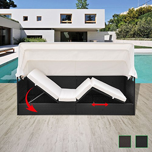 Alitop Garden Rattan Sun Lounger Sofa Bed Daybed Outdoor Black/Brown with Canopy ()