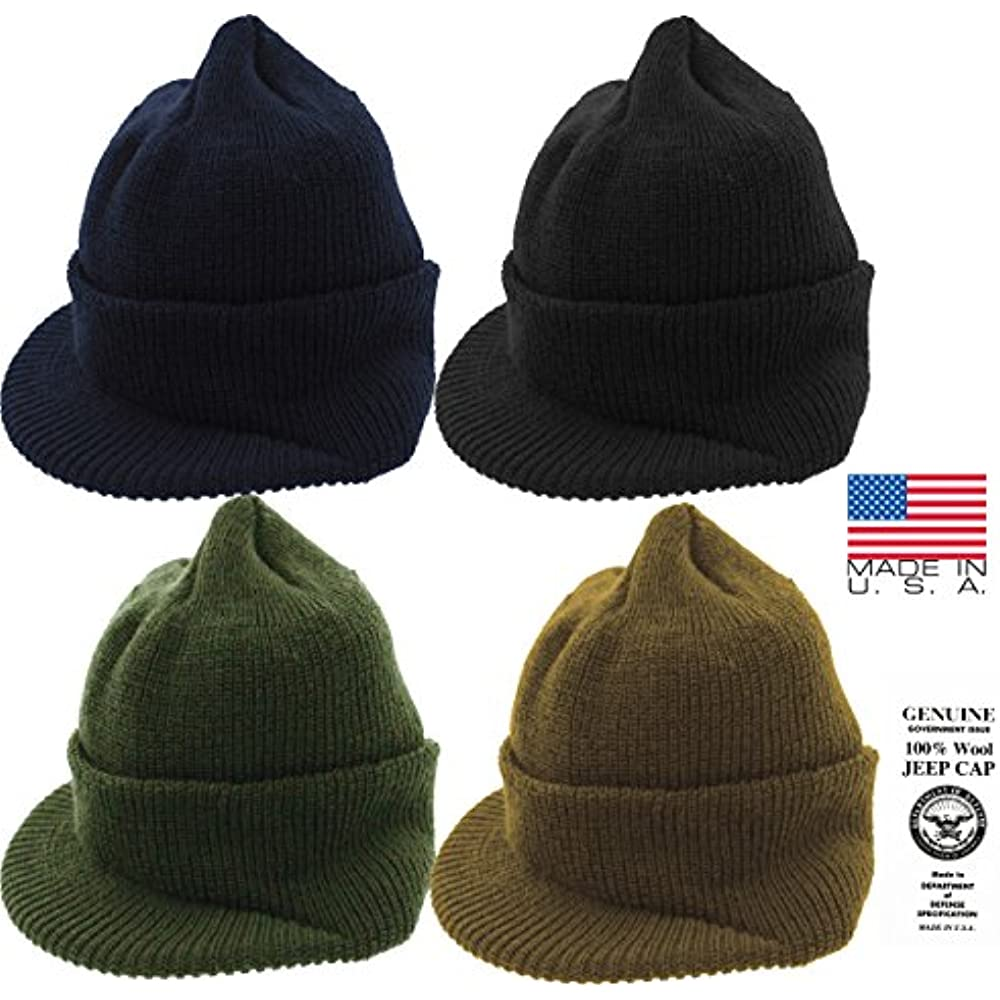 7899493b902 Genuine GI Official Military Wool Cold Weather Winter Knit Hat Jeep Watch  Cap (Olive Drab) Clothing