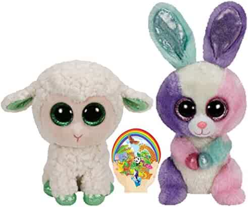 2b08c68890d Ty Beanie Boos Green Lamb Lala and Colorful Bunny Bloom gift set of 2 Plush  Toys