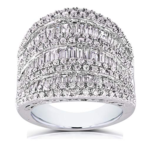 - Extra Wide Round and Baguette Multi Row Ring 2 1/2 CTW in 10K White Gold, Size 11