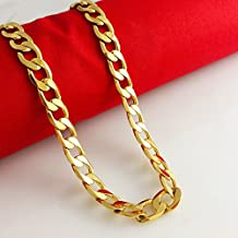 Mens 24K Yellow Gold Filled Necklace Solid Figaro Ling Chain Fashion Jewelry 60cm/12mm/10mm/8mm (50cm x 8mm)