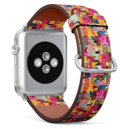 (Compatible with Apple Watch Serie 4/3/2/1 (Big Version 42/44 mm) Leather Wristband Bracelet Replacement Accessory Band + Adapters - Squirrel)