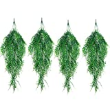 Outgeek Artificial Hanging Plants, Artificial Green Ivy Vine Artificial Shrubs Hanging Vine Plant Home Garden Outdoor Wall Decoration (4 pcs)