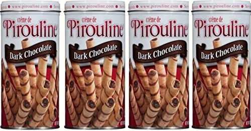 Creme De Pirouline Dark Chocolate Artisan Rolled Wafers All Natural 10 Oz Tins (4 ()