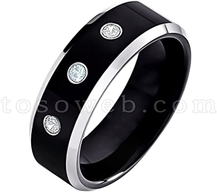8mm Blue Tungsten Ring March Birthstone Ring Comfort Fit 2-Tone Pipe Cut Tungsten Carbide Ring Tungsten Wedding Ring 0.21ctw Aquamarine /& Diamond 3-Stone WeddingBand