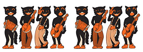 Beistle S01180AZ2 Scat Cat Band Cutouts, Black/White/Orange