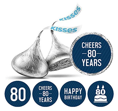 Darling Souvenir Pack of 190 Pcs Kisses Chocolate Labels Cheers 80th Birthday Theme Stickers-Navy Blue]()