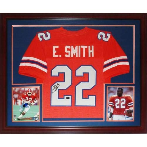 Emmitt Smith Autographed Signed Auto Florida Gators Orange #22 Deluxe Framed Jersey Smith Holo - Certified Authentic - 22 Jersey Emmitt Smith