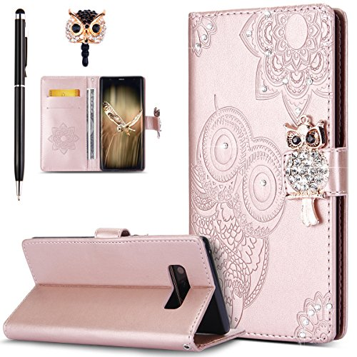 ikasus Galaxy Note 8 Case,Galaxy Note 8 Cover, Bling Diamonds Glitter Embossing Mandala Owl PU Leather Fold Wallet Flip Stand Protective Case Cover + Dust Plug & Stylus for Galaxy Note 8,Rose Gold