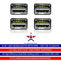 4X6 INCH Rectangular Sealed Beam LED Headlights CREE Chips Hi/Lo Beam w/DRL Replace for H4651 H4652 H4656 H4666 H4668 H6546 Truck Kenworth Peterbilt FREIGHTLINER Western Star Ford Mustang Chevy Camaro