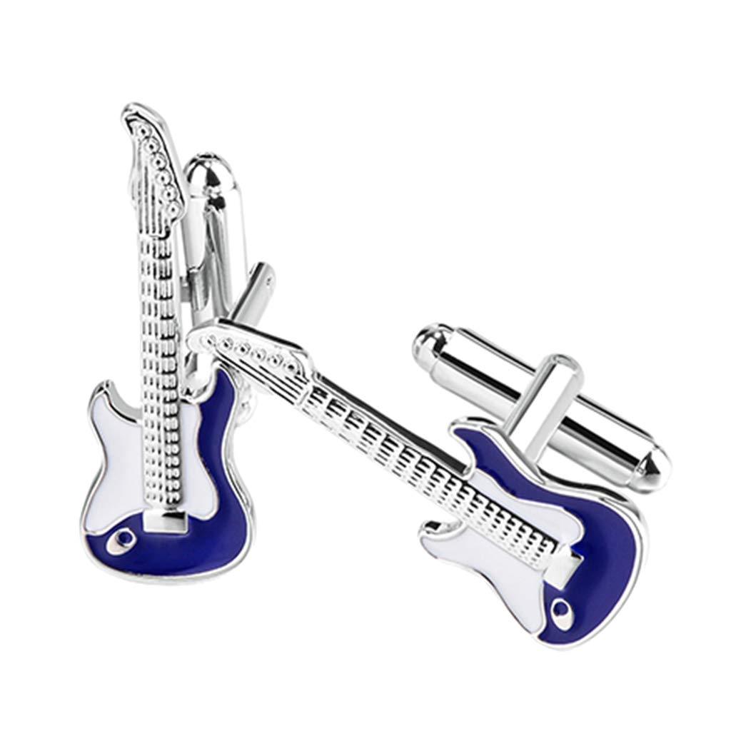 11 x 31 mm 1 Paire F Fityle Boutons de Manchette Guitare Electrique en Cuivre pour Mariage Business Commercial Bleu