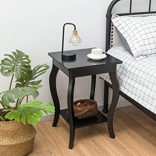 "Giantex End Table 16"" W/Storage & Shelf Curved Legs Home Furniture for Living Room Accent Sofa Side Table Nightstand (2, Black)"