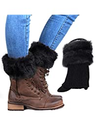 MIOIM Women Faux Fur Trim Knitted Winter Leg Warmers Ankle Boot Cuff Toppers