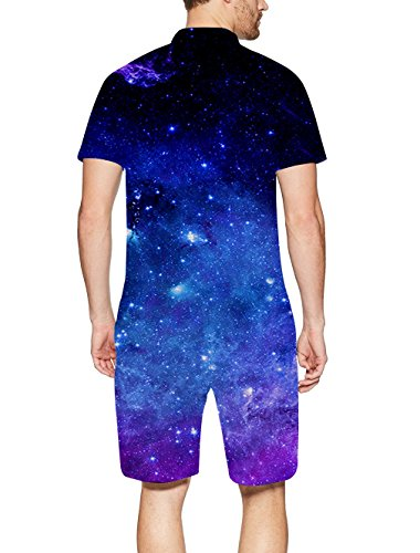 RAISEVERN Men Romper 3D Graphic One Piece Romper Casual Zipped Short Sleeve Jumpsuit Overalls Galaxy