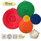 10 Piece Silicone Lids Set (5 silicone suction lids set 12'',10'',8'',6'',4''+ 5 stretch lids set) Reusable silicone lid covers for Pots, Pans, Dishes and Bowls