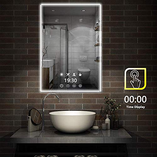 FeelGlad Time Display LED Lighted Bathroom Mirror - 32 x 24 inch -