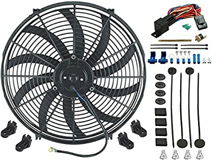 A-TEAM 16 INCH ELECTRIC RADIATOR COOLING FAN  12v 3000cfm RELAY THERMOSTAT KIT