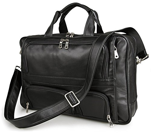 UBaymax Men's Top-Zip Genuine Leather 17 Inch Laptop Handbag Briefcases Carry On Overnight Bag (Black) by UBAYMAX