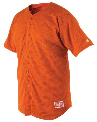 Rawlings Men's Full Button RBJ167 Jersey , Burnt Orange, X-Large
