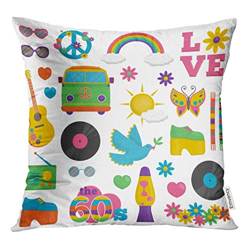 HFYZT Collection of Vintage Retro 1960S Hippie That Symbolize The Cover Standard Throw Pillowcase 18X18 Inch -