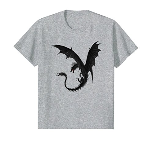 Kids The Dreaming Dragon Black Dragon T-Shirt 12 Heather Grey