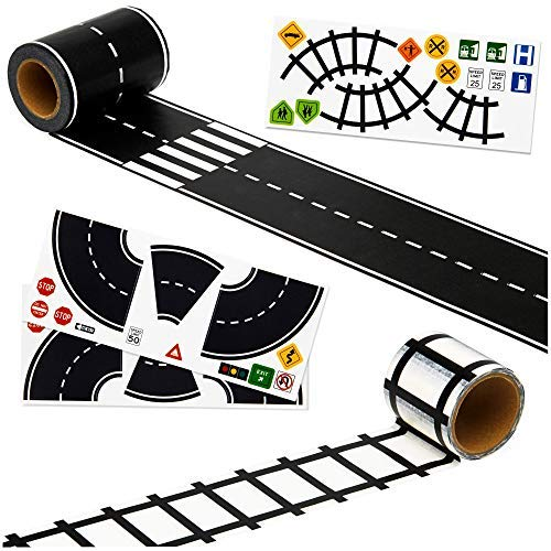 Imaginative Road Tape, Adhesive Train Tracks with Traffic Signs and Curved Roads. 57 feet of Fun for Kids of All Ages. 3 inch Wide Road. let Them Learn and Imagine While Playing.