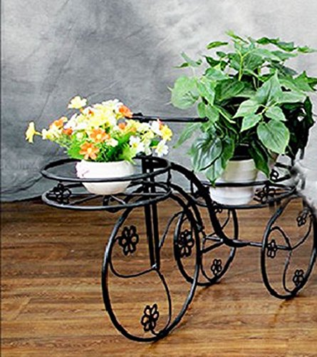 Bicycle Potted Frame Iron Creative Flower Frame Balcony Living Room Floor Style Flower Stand ( Color : Black ) by Flower racks - xin