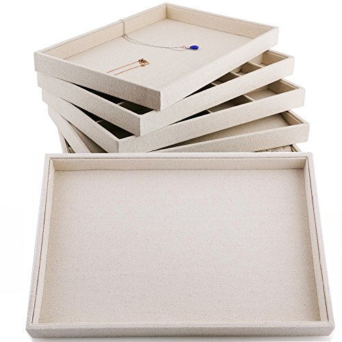 Oirlv Linen Jewelry Display Trays Stackable Necklace Bracelet Ring Showcase Display Empty Plate(Pack of 1)