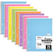 Mead Spiral Notebook 1-Subject College Ruled, Pastel Color (Pack of 8)