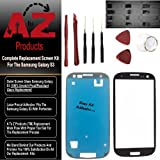 Premium Screen Replacement for Samsung Galaxy S3 EasyKit Adhesive (TM) Pebble Blue Lens & Repair Kit S3 i9300 (AT&T/Verizon/Sprint/T-Mobile/US Cellular/Metro Pcs) I747 T999 I939 I535