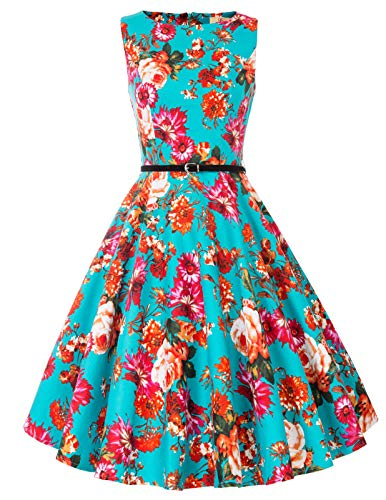 Party Wear Dresses - GRACE KARIN Women Floral Sleeveless Vintage Dress Evening Dress Size L F-64