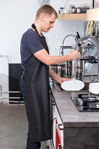 Waterproof Rubber Vinyl Apron - Upgraded 2018 Heavy Duty Model - Best for Staying Dry When Dishwashing, Lab Work, Butcher, Dog Grooming, Cleaning Fish, Projects - Industrial Chemical Resistant Plastic by Aulett Home (Image #6)