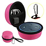 Echo Dot Case, Portable Carrying Travel Bag Protective Hard Case Cover for Amazon Echo Dot (2nd Generation) with Carabiner (Fits USB Cable and Wall Charger), Nylon-Red (Black Zipper)