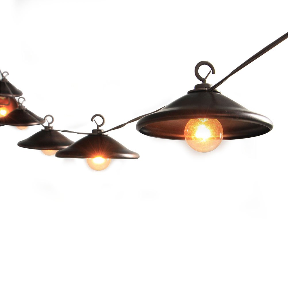 MYHH-LITES G40 Patio Outdoor String Lights 5'' Bronze Metal Lampshade, UL Listed Connectable Weather-Resistant Indoor/Outdoor Decor Garden, Party, Backyard, Gazebo, Pergola, Porch, Bistro