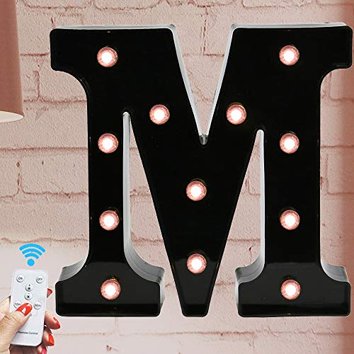 Oycbuzo Marquee Letter Sign Lights - Light Up Black Letters Home Decor Name Signs - Battery Operated LED Remote Timer - Lighted Vintage Accessories & Decorations M (Letters Lighted Metal)