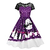 Swing Dress, TOOPOOT Women's Vintage Christmas O-Neck Printed Short Sleeve A-Line Swing Dress