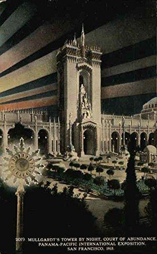 Abundance Postcard (Mullgardt's Tower by Night, Court of Abundance San Francisco, California Original Vintage Postcard)